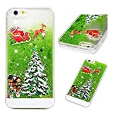 """iPhone 6S Case, iPhone 6 Case 3D Christmas Flowing Liquid Glitter Cover Sparkly Snowflakes Stars Clear Hard PC Back Soft Frame Xmas Case Santa Claus for iPhone 6S/iPhone 6 4.7"""" Christmas Tree"""
