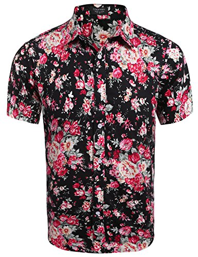 Coofandy Men Casual Short Sleeve Slim Floral Print Button Down Shirt