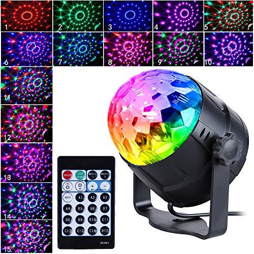 Anpro Discokugel Discolicht mit 15 Beleuchtungsform, Partylicht Led Disco Ball Light Disco Lichteffekte RGB LED Partybeleuchtung für halloween deko, Kinder Geburtstag Club Party, MEHRWEG (Licht-haus 250)