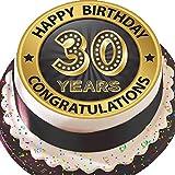 Tortenaufsatz flach, vorgeschnitten, essbar, aus Zuckerguss, Gr. L, 19cm, rund, Schwarz / goldfarben, zum 30. Geburtstag (Aufschrift in englischer Sprache)