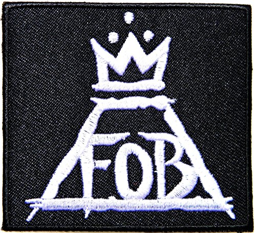 Schlüsselanhänger, Motiv FALL OUT BOY/Heavy Metal Rock n Roll Punk Music Band Logo Embroidered Iron on Aufnäher Patch Geschenk-Plakette