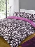 Leopard Pink Modern Animal Print Super King Size Duvet Quilt Cover Bedding Set