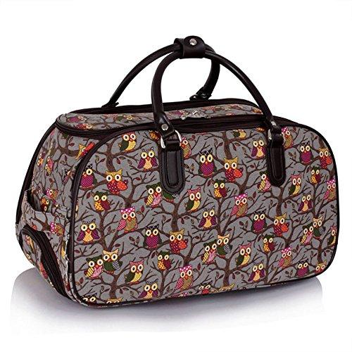 TrendStar Meine Damen Reisetaschen Holdall Frauen Handgepäcks Eule Print Wochenende Rolliges Laufwerk Handtasche Grau