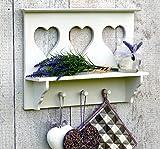more-decor-de Küchenregal Wandregal Regal für Küche mit Ablage und 3 Haken - Weiß - aus Holz - 3 Herzen - Shabby Chic Vintage Landhaus Stil - 43x30cm