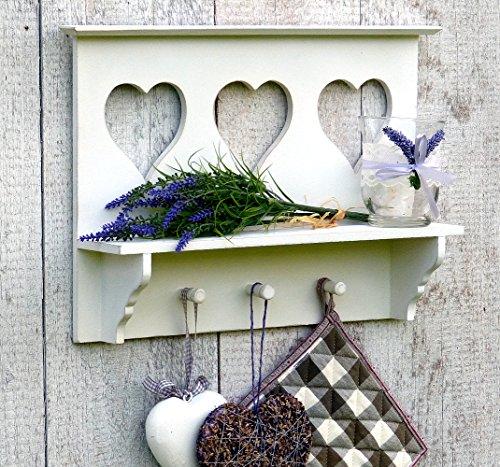 more-decor-de Küchenregal Wandregal Regal für Küche mit Ablage und 3 Haken - Weiß - aus Holz - 3 Herzen - Landhausstil - 43x30cm