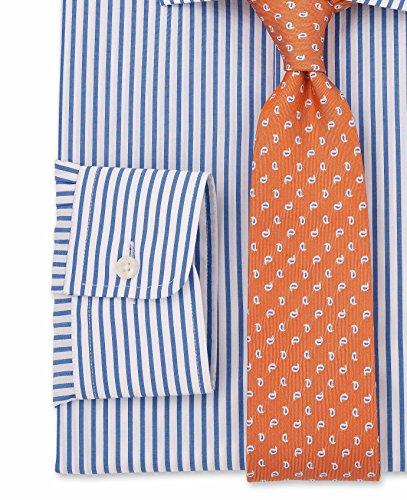 Savile Row Men's White Blue Stripe Slim Fit Shirt - Single Cuff White Blue