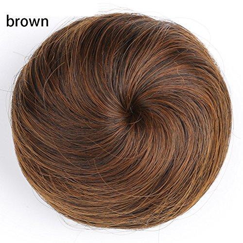 Kordelzug Haarteil (Damen Kunsthaar Perücke Tasche gerade Haar Blume Haar Coil Frisur Perücke Fake Nadel Haarteile Dutt Haarverlängerung Perücken Haargummi Kordelzug Haar Verlängerung)