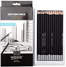 KABEER ART Artist Quality Fine Art Drawing & Sketching Pencils (H-14B), 24 Piece Set
