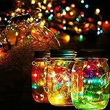 Mason Jar Lights, Garden Outdoor Solar Lanterns 20 LED Solar Powered Fairy Lights for Patio Garden Path Wedding Christmas Holiday Party Decor (4 Pack)