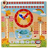 Wishkey Wooden Multifunctional Calendar Clock Seasonal Weather Early Childhood Learning Toys