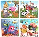 Hillento Holzpuzzles Puzzles für Kleinkinder Kinder - Pädagogische Puzzle-Spielzeug-Set, sichere Bildung Lernspielzeug für Kleinkinder, Set von 4 (Zoo, Bauernhof, Obst, Unterwasserwelt)