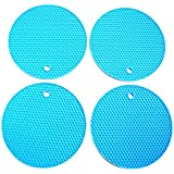 Snyter – Flexible Round Shape Silicone Hot Pad Disc Pad, Trivet Mat, Spoon Rest, Pot Mat, Dining Table Coaster, - Non Slip, Flexible, Durable, Dishwasher Safe, Heat Resistant Hot Pad Perfect For Kitchen Accessories Dining Table Accessories -Pack Of