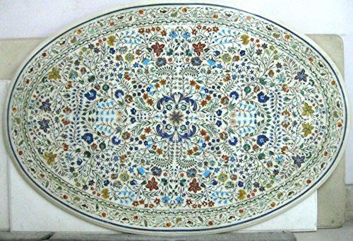 137,2x 91,4cm weiß Marmor Oval Form Konferenz Tisch Top Halbedelsteine Einlage