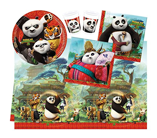 Procos 10110954B Partyset DreamWorks Kung Fu Panda, Größe S, 37 teilig