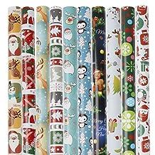 Olgaa 10-pack julpapper med omslagstejp jultomten snöflingor älg 10 designer julelement samling, 75 x 52 cm
