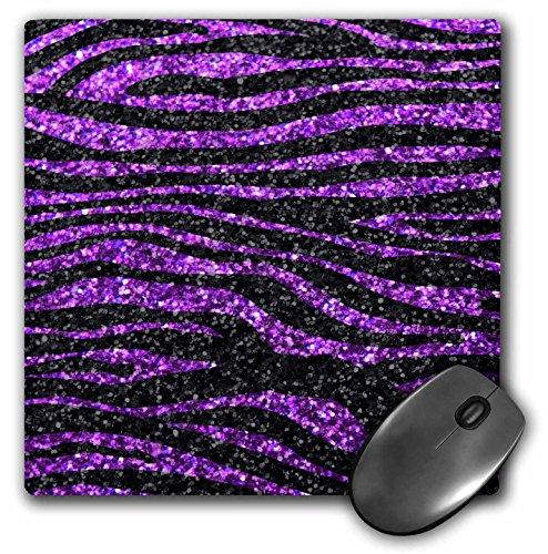 3drose LLC 20,3x 20,3x 0,6cm Maus Pad, Violett und Schwarz Zebra Stripe Print Faux Bling Foto nicht die tatsächliche Glitter glitzernden Sparkles (MP 113175_ 1) -