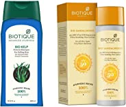 Biotique Bio Kelp Fresh Growth Protein Shampoo, 400ml and Biotique Bio Sandalwood Sunscreen Ultra Soothing Face Lotion, SPF 50+, 120ml