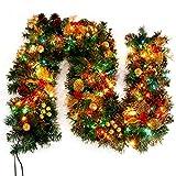 Justdolife 8.86ft Weihnachtsgirlande Künstliche Kiefern Girlanden Hängende Dekoration mit Licht