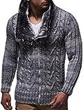 Leif Nelson Herren Woll Strick-Jacke | Casual Strick-Hoodie Slim Fit | Moderner Männer Zip Strick-Cardigan Langarm mit Schalkragen