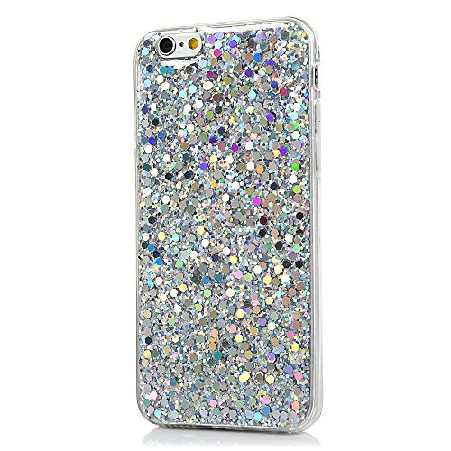 "MAXFE.CO TPU Silikon Hülle für iPhone 6 4.7"" / iPhone 6S 4.7"" Handyhülle Schale Etui Protective Case Cover Rück mit Mehrfarbige Beschichtungen Design Hell-lila Muster Skin Silber"