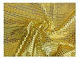 Fabrics-City SUNGELB HOCHWERTIG PAILETTEN STOFF PAILLETTENSTOFF 6MM STOFFE, 2430