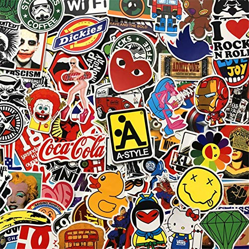 BestMall Adesivi Stickers Assortimento Pixel Bellissimi Adesivi In Vinile, Diversi Stili Assortiti (100 Pcs Stickers) (Color2)