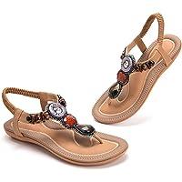 Sandales Femme Plate Été Bohème Sandales Confortables Vintage Élégance Strass Retro Chaussures Pour Plage Vacances Noir…