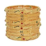 Mansiyaorange Traditional Fancy Designer Casual Party Wedding Wear Original Hand Work Meena One Gram Gold Multi Color Golden Bangles for Women Stylish (3.0)