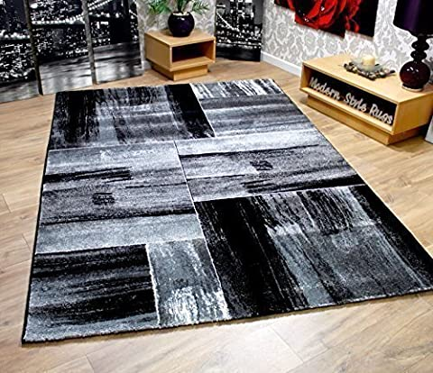 Modern Squares Pattern Contemporary Designer Hard Wearing Home Floor Rugs - Black & Grey 120x170cm by Modern Style Rugs