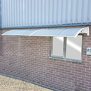 Marko Door Canopy Smoking Area Rain Shelter Outdoor Awning Window Cover Sun Protector (Canopy + Extension (300cm x 100cm), Grey)
