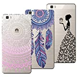 3x Coques,Yokata 3 en 1 Coque Huawei P8 Lite 2016 / 2015 , Etui Huawei P8 Lite 2016 / 2015 Silicone Souple Étui Transparent Swag Gel Case Ultra Fine Mince Housse Protection Antichoc Motif Mandala Rose + Attrape Reve Bleu + Fille Princesse