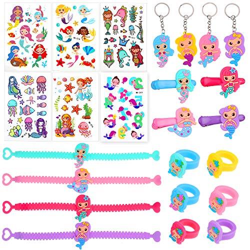 rjungfrau Party Set Meerjungfrau Tattoo Ring Armband Schlüsselanhänger Haarklammer zum Kindergeburtstag Mitgebsel Geschenk für Kinder Mädchen ()