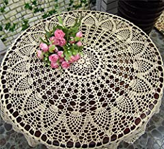Idea Regalo - Tovaglia rotonda fatta a mano all'uncinetto, tovaglietta, centrotavola, copridivano per arredamento, matrimoni, decorazioni (HZQ-06-C, 70 cm rotonda) 70cm Diameter