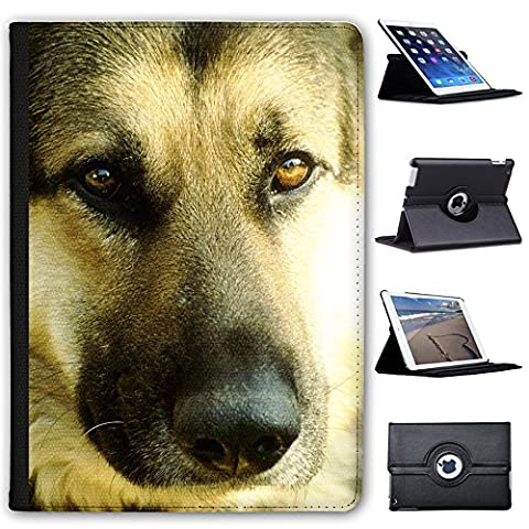 Close Up Face Of A German Shepherd Dog Faux Leather Case Cover / Folio for the Apple iPad Air