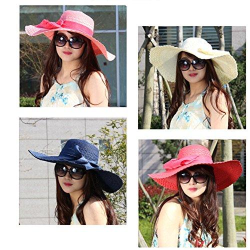 Surker Femmes Anti-Sun Grand Brim Plage Hat Sun Hat Bleu marine et cr¨¨me