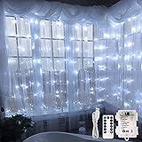 LE Lighting EVER Rideau Lumineux LED, 3m*3m, Blanc Froid Dimmable, Piles ou USB, pour Noël, Mariage, Fêtes, Soirée, Anniversaire, etc