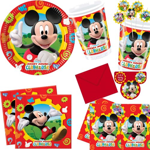 78-teiliges Partyset MICKEY MOUSE von DISNEY mit 10 Teller, 10 Becher, 20 Servietten, 6 Trinkhalme, 6 Einladungskarten, 1 Tischdecke, 25 Luftballons // Kindergeburtstag Kinder Geburtstag Feier Party Set Fete Partygeschirr Clubhouse Micky Set (Disney Mickey Mouse Clubhouse)