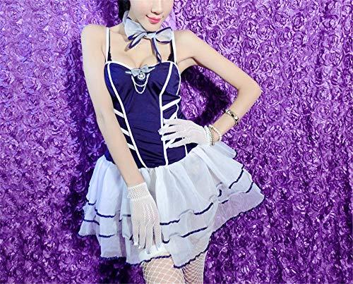 SEXY Underwear Home Extreme Versuchung SM Lingerie Night Shop Passion Lady Set (80-120 kg) (Rock + Handschuhe + Kleiner Hut + Netzstrümpfe + Krawatte + String)