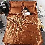 Vierteilige Set Seide,Volltonfarbe Atmungsaktive Bettdecke Luxus Weichen Deckblätter 1.8m Beding-Y 120x200cm(47x79inch)