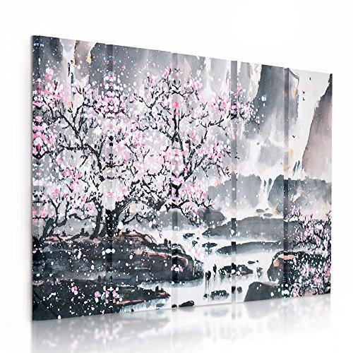 Feeby Frames, Cuadro en Lienzo - 5 Partes - Cuadro impresión, Cuadro decoración, Canvas (Cerezo ÁRBOL, Rosa, Gris) 100x150 cm, Tipo C