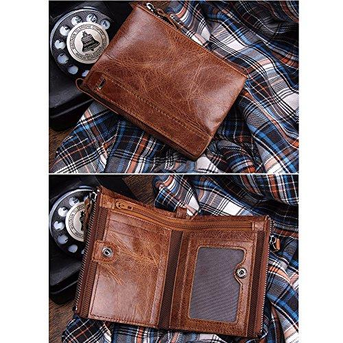 VECHOO Premium echtem Rindsleder Geldbörse mit RFID Schutz, Vintage Bifold Geldbeutel Doppelreißverschluss Portemonnaie mit Kreditkarte Halter(Braun) - 7