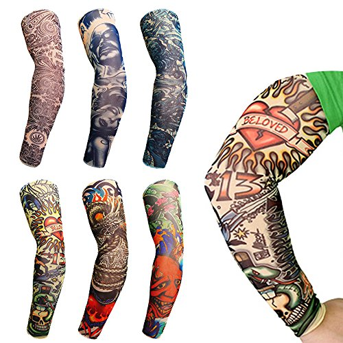 Fashion temporäre Tattoos nahtlos elastische Sonnenschutz Hüllen für Männer (6 Packungen)