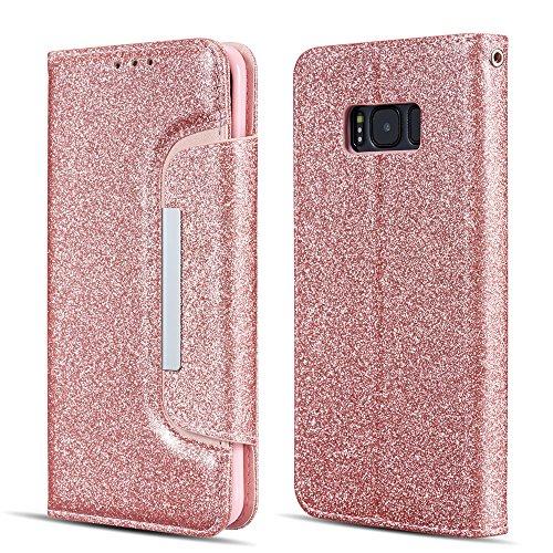 UEEBAI Hülle für Samsung Galaxy S6, Hochwertig Glitzer Schutzhülle mit [Große Magnetschnalle] [Kartensteckplatz] Standfunktion Stoßfest PU Leder Flip Brieftasche Cover Case Handyhülle - Roségold