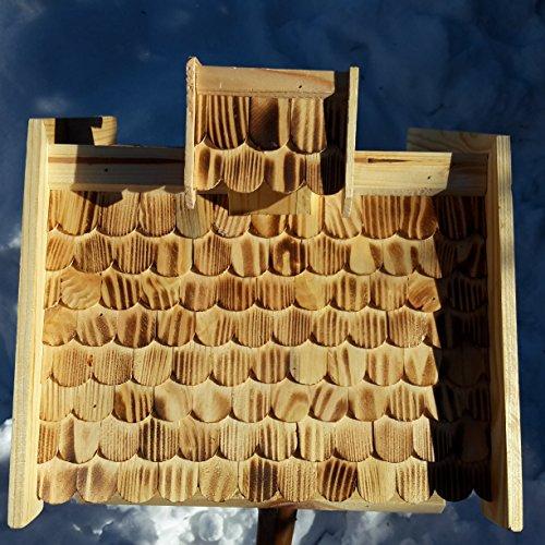 Vogelhaus-XXL mit Holzschindeln und Putzklappe lasiert Vogelhäuser-Vogelfutterhaus großes Vogelhäuschen-aus Holz Wetterschutz (Natur) - 2