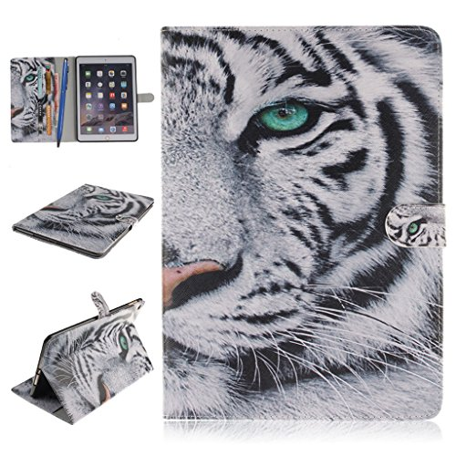 iPad Air 2 Funda,Careynoce Atrapasueños León Tigre Pattern Flip PU Cuero Carcasas Funda Case Cover para Apple iPad Air 2 iPad 6 (9.7 pulgada) - Blanco Tigre