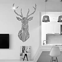 Autocollant Mural Miroir Bricolage en Cerf 3D, pour Salon, Sticker Mural en Cerf Acrylique Stickers Chambre à Coucher…