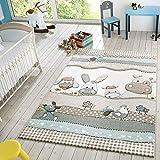 Kinder Teppich Moderner Spielteppich Bauernhof Tiere Pastell Töne In Beige Creme, Größe:Ø 120 cm Rund