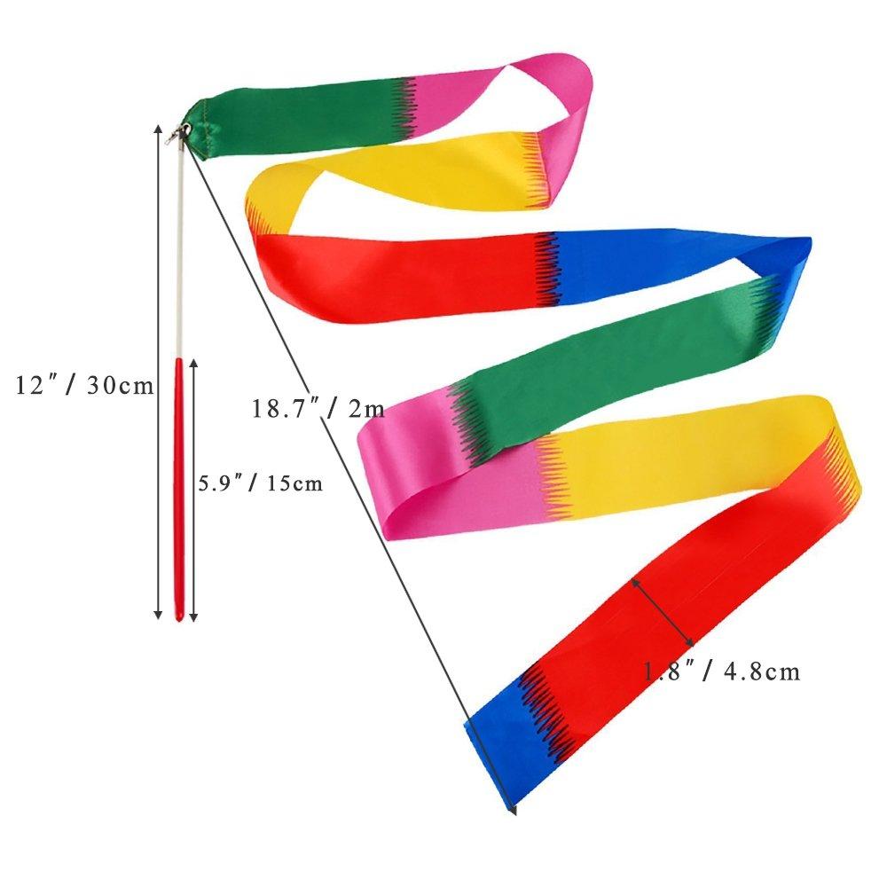 Cinta de baile cintas de gimnasia r/ítmica para ni/ños con rotaci/ón de bat/ón 2 unidades colores mixtos