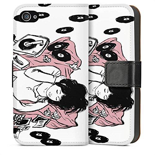 Apple iPhone 5s Housse Étui Protection Coque Fille Musique Platine Sideflip Sac