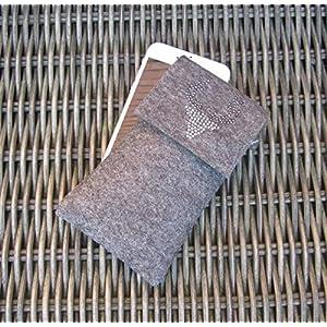 zigbaxx Handyhülle Filz Handytasche WOOD STAR für Samsung Galaxy S8 S9 S7 edge Plus/Smartphone-Hülle handmade Wollfilz/Hirsch Strass - pink anthrazit beige grau braun - Geschenk Jäger-in Weihnachten